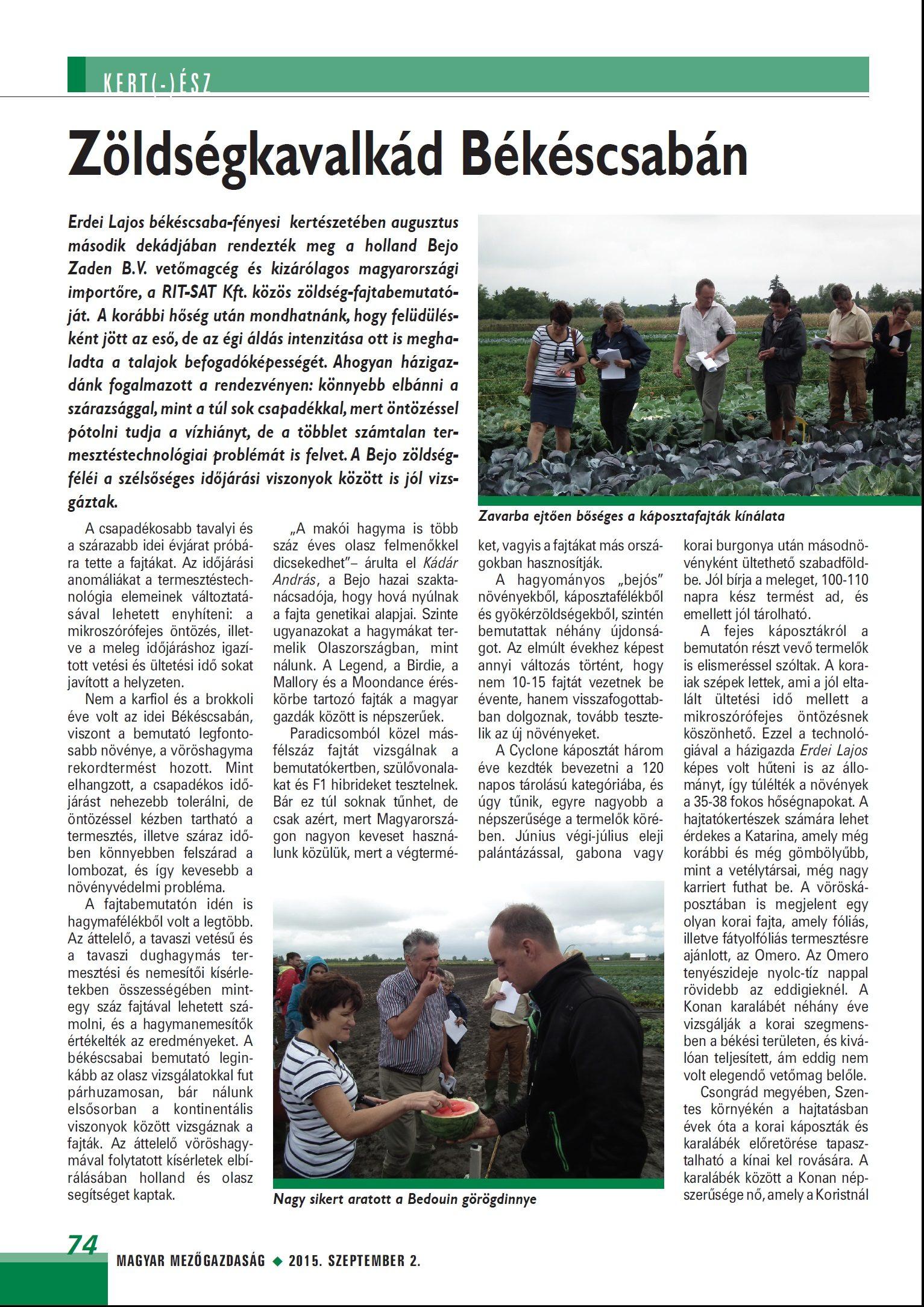 Zöldségkavalkád Békéscsabán – MMG 2015. szeptember 2.